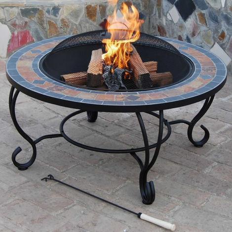 Trueshopping Villa Beacon Fire Pit Table + BBQ Grill + Spark Guard + Rain cover
