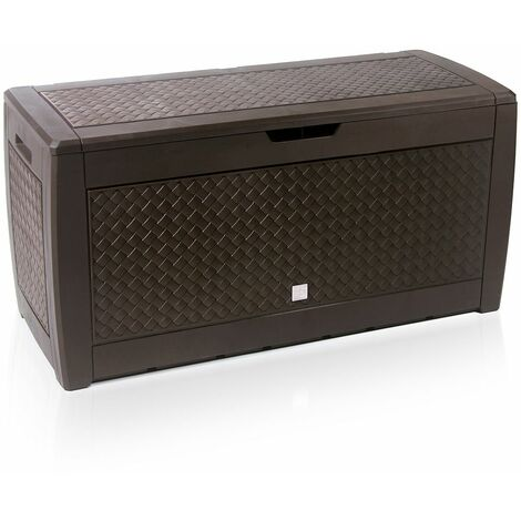 Truhe klappbarer Deckel Haltegriffe Rollen Rattanoptik anthrazit Gartenbox Auflagenbox Kissenbox