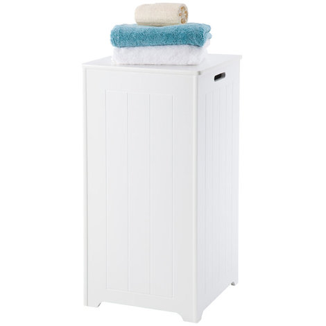 Truro Tall Laundry Cabinet Bin // Extra-large 70 Litre Capacity and Stay-up Hinges // White Scandinavian-inspired Storage for Bathroom and Bedroom