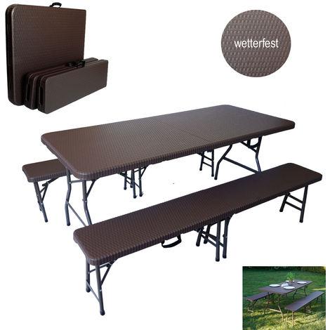 TrutzHolm® Bierzeltgarnitur braune Rattanoptik Festzeltgarnitur 180x75cm klappbar Gartenmöbelset 2 Bierbänke 1 Tisch