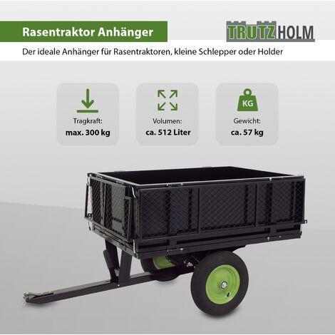 TrutzHolm® Rasentraktor Anhänger 300 kg kippbar Kippanhänger