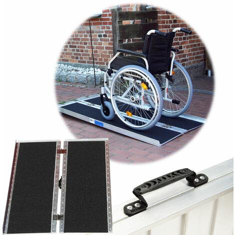 TrutzHolm® Rollstuhlrampe 122 - 184 cm bis 270 kg klappbar Alu Friktionsbeschichtung