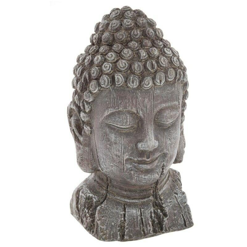 Tête de Bouddha Effet Bois 32cm Gris