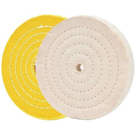 """main image of """"TTIO Meules de polissage pour meuleuse d'établi 6 """"roues de polissage blanc et jaune pour polisseuse de tampon d'établi avec 16mm trou d'arbre 2 pcs"""""""
