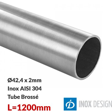 Tube 42,4x2mm, inox 304, Longueur 1200mm