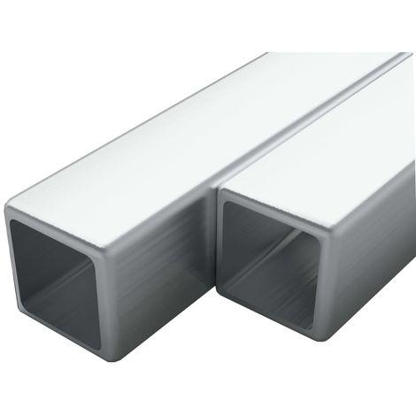 Tube carre Acier inoxydable 2 pcs V2A 2 m 20x20x1,9 mm