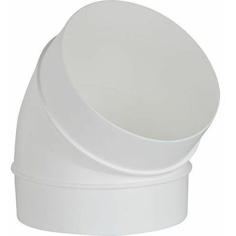 Tube coude rond DN 125, 45° , blanc