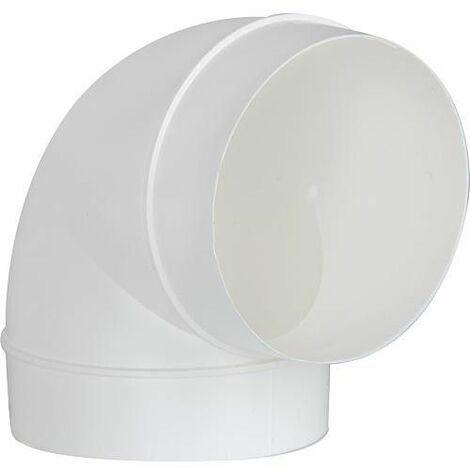 Tube coudé rond DN 125, 90 ° blanc avec manchon