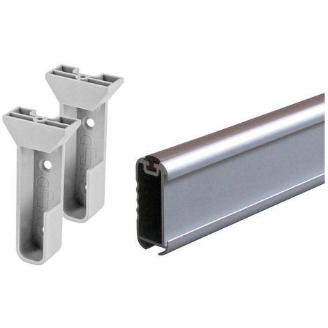Tube de penderie ovale en kit - Décor : Anodisé argent - Matériau : Alu - Longueur : 1000 mm - Section : 35 x 15 mm - SEED - Section : 35 x 15 mm