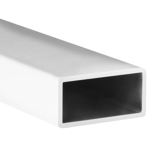 Tube en aluminium rectangulaire, finition blanche et 1000 mm de long. Réf 9006.2010.01