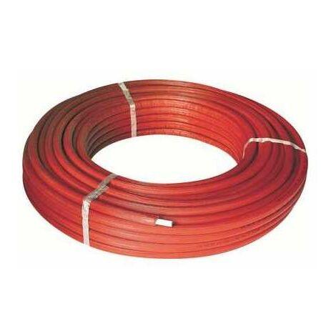 Tube multicouche pré-isolé RIXc - Couleur rouge - Diamètre 26 mm - Epaisseur 3 mm - Longueur 50 m - Henco