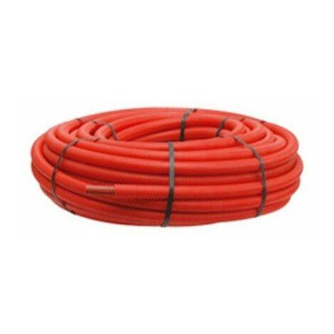 Tube PER polyéthylène prégainé couronne 16x1,5 100m rouge