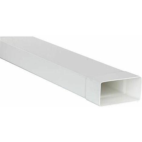 Tube plat systeme 150 220 x 90 mm, blanc Longueur 1,0 m avec manchon