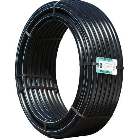 Tube polyéthylène haute densité qualité organoleptique Polypipe - Longueur 25 m - Diamètre 32 mm - Noir, bande bleue