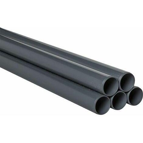 Tube PVC-U 75 x 3,6 mm 5 m lisse DIN 8061/62 RAL 7011 / 50 m