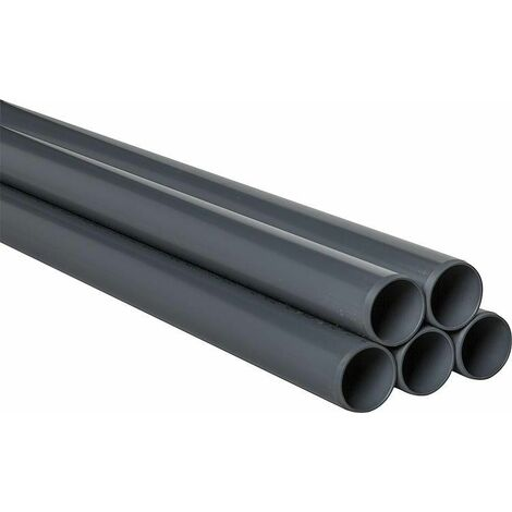 Tube PVC-U 90 x 4,3 mm 5 m lisse DIN 8061/62 RAL 7011 / 30 m