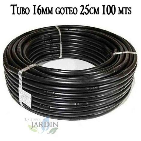 Tuberia 16mm riego por goteo a 25cm negra, 100 metros