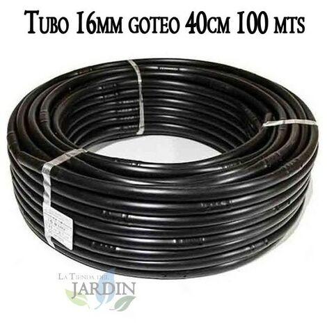 Tuberia 16mm riego por goteo a 40cm negra, 100 metros