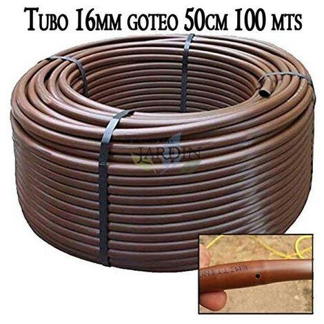 Tuberia 16mm riego por goteo a 50cm marrón, 100 metros