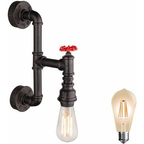 tubería de agua lámpara de habitación del grifo de estar radiador pared de la vendimia de oro negro en el kit. Incluye bombillas LED