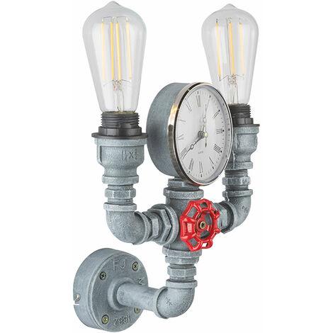 Tubería de agua vintage Lámpara de pared Reloj de cuarzo Conjunto de accesorios de estilo industrial que incluye bombillas LED