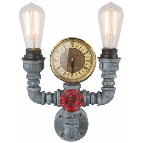 Tubería de agua vintage Lámpara de pared Reloj de cuarzo Estilo industrial Óptica de cemento Gris claro Globo 43001W2