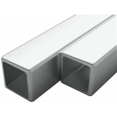 Tubo acero inoxidable cuadrado 2 uds caja V2A 2 m 20x20x1,9mm