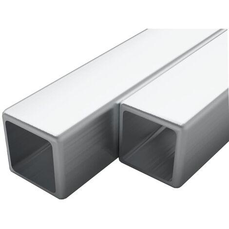 Tubo acero inoxidable cuadrado 2 uds caja V2A 2 m 40x40x1,9mm