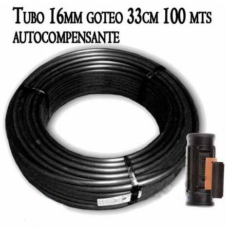 Tubo autocompensante 16mm a 33cm separación por gotero, bobina negra de 100 metros