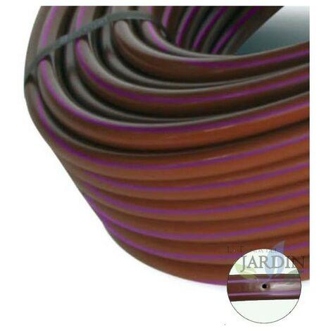 Tubo banda morada 16mm a 50cm separación por gotero autocompensante, marrón con bandas moradas 100 metros