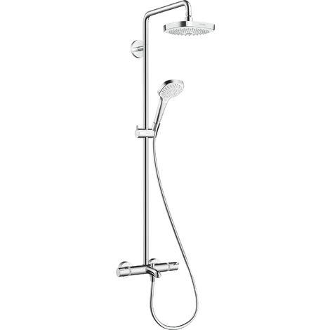 Tubo de ducha Croma Select E 180 2jet de Hansgrohe con termostato de baño, blanco/cromo - 27352400
