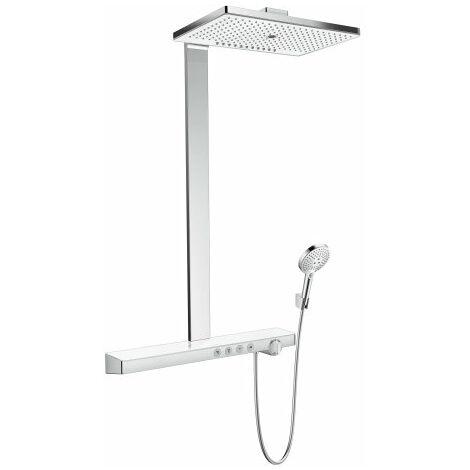 Tubo de ducha Rainmaker Select 460 3jet de Hansgrohe con termostato, montado en la superficie, 4 consumidores, blanco/cromo - 27106400
