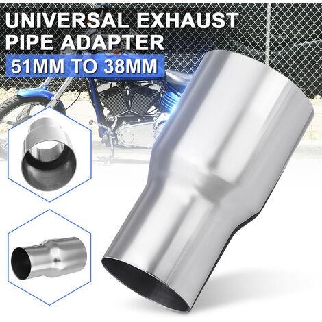 Tubo de escape reductor conector adaptador universal de 50 mm a 38 mm cromado