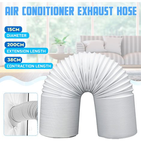 Tubo de tubo de escape de polipropileno blanco de 15X200 cm y alambre de acero para aire acondicionado portátil Hasaki