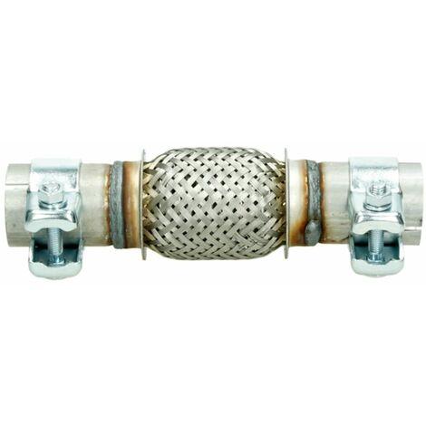 Tubo escape manguera flexible 40x100 + 2 conectores universales acero inoxidable