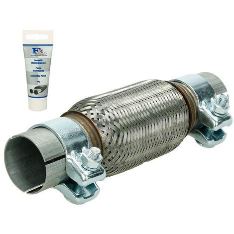 Tubo flexible acero inoxidable universal 50x15 /268mm + 2 ganchos y pasta montar