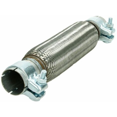 Tubo flexible escape acero inoxidable 45 x 260/370 mm con 2x pinzas abrazaderas