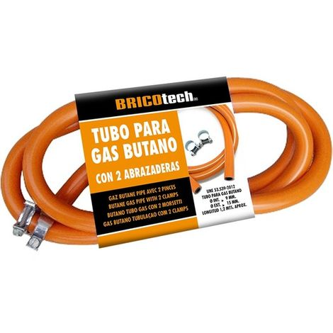 Tubo Gas Butano 120cm Con Abrazaderas