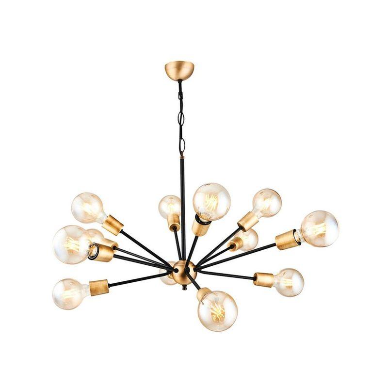 Homemania - Tubo Haengelampe - Kronleuchter - von Decke - Schwarz, Gold aus Metall, 55 x 55 x 120 cm, 12 x E27, 40W