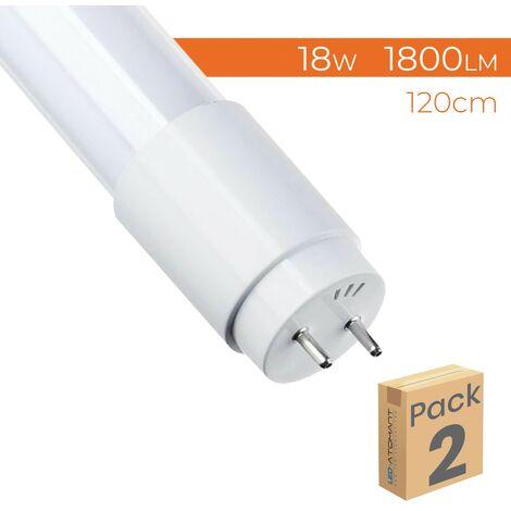 Tubo LED 120cm 360º T8 G13 18W 1800LM Conexión un lateral A++ | Blanco Cálido 3000K - Pack 2 Uds. - Blanco Cálido 3000K
