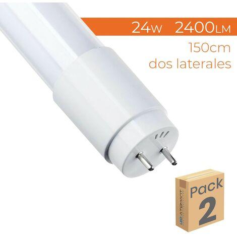 Tubo LED 150cm 360º T8 G13 24W 2200LM Conexión dos laterales A++ | Blanco Cálido 3000K - Pack 5 Uds. - Blanco Cálido 3000K