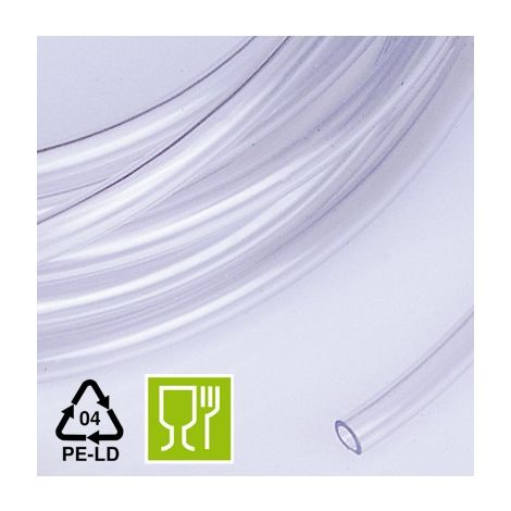 Tubo macarrón LDPE 4x6 Natural Certificado Alimentario. 10 metros.