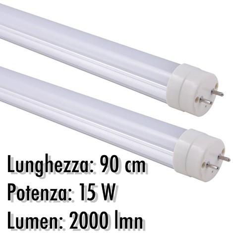 TUBO NEON LED 9W 60CM T8 144 SMD LED LUCE BIANCA OPACO FREDDA 6500K OPACO