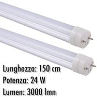 TUBO NEON A LED T8 24 W WATT 3000 LMN CON COPERTURA OPACA DA 150 CM LUCE BIANCA