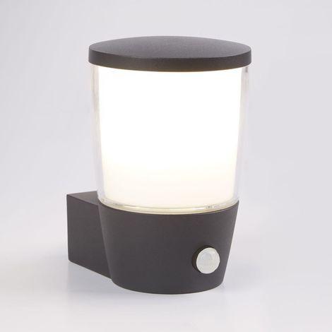 TUCSON OUTDOOR PIR 1 LIGHT WALL BRACKET, DARK GREY, CLEAR/WHITE SHADE