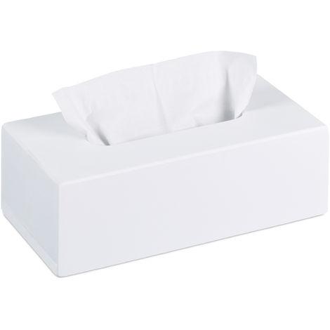 Tücherbox Bambus, Taschentuchbox mit Schiebeboden, Tissue Box für Taschentücher, HxBxT: 7,5 x 24 x 12 cm, weiß