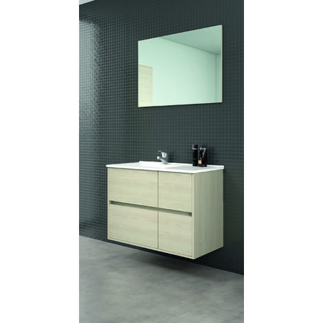 Tuela Mueble de baño con lavabo ceramico 4 Cajones 80 cms. Taiga
