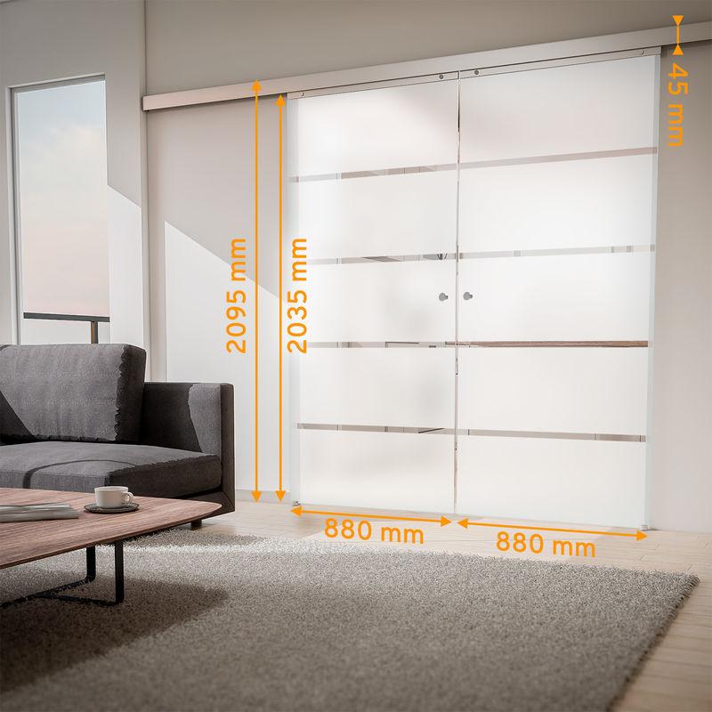 Tür doppelflügelige Schiebetür Glas Blockstreifen 1760x2035 ...