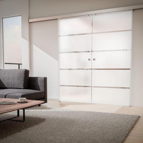 Tür doppelflügelige Schiebetür Glas Blockstreifen 1760x2035 Zimmertür Glasschiebetür