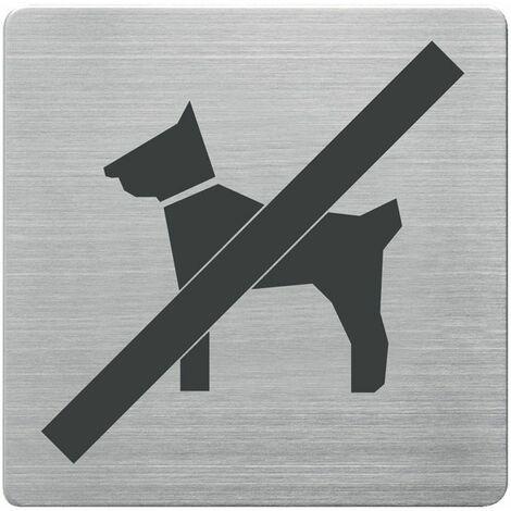 Tür-/Infoschild B90xH90mm Sichtfenster Hunde verboten Rücken VA geb.